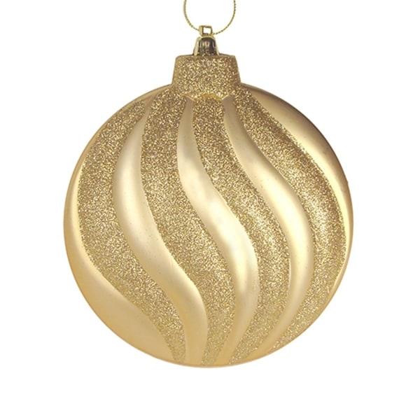 "6ct Matte Vegas Gold Glitter Swirl Shatterproof Christmas Disc Ornaments 6.25"""