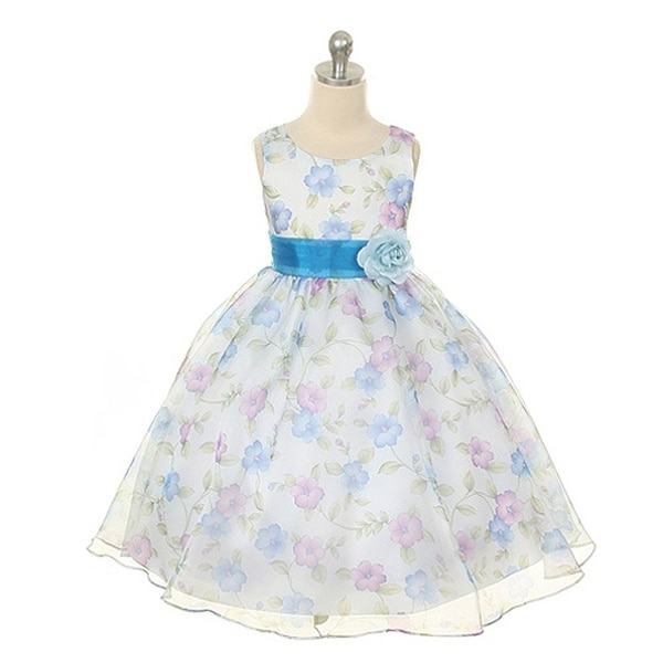 d4269aef63f Shop Kids Dream Little Girls Royal Blue Organza Floral Easter Dress 2T-12 - Free  Shipping On Orders Over  45 - Overstock - 18169659
