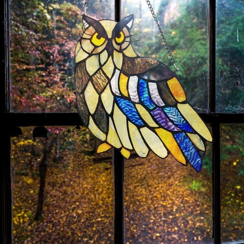 """River of Goods 11.5""""H Janet the Owl Stained Glass Window Panel"""