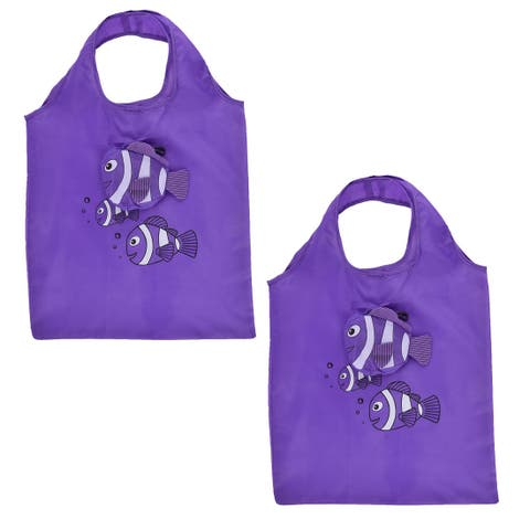 Polyester Fish Pattern Shoulder Hand Carrier Foldable Shopping Bag Purple 2pcs