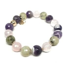 Julieta Jewelry Purple Amethyst & Quartz Sophia Gold Stretch Bracelet