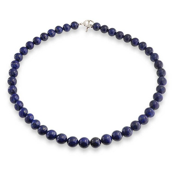 "Real Natural Dark Blue Egyptian Lapis Lazuli Gemstone Beads Necklace 18/"""