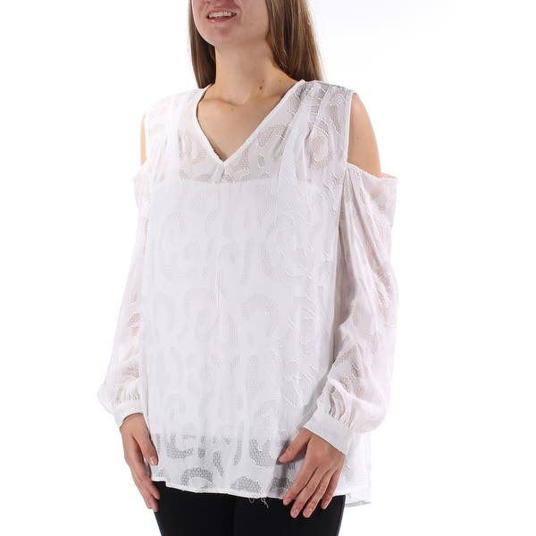 bc7e9768411882 ALFANI Womens White cold shoulder and includes tank top Long Sleeve V Neck  Tunic Top Size ...