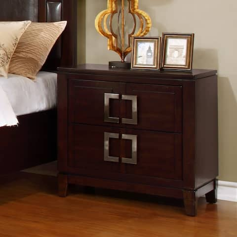 Furniture of America Jofi Transitional Cherry Solid Wood Nightstand