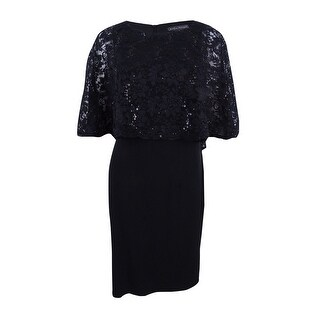 Jessica Howard Women's Lace Capelet Sheath Dress - Black