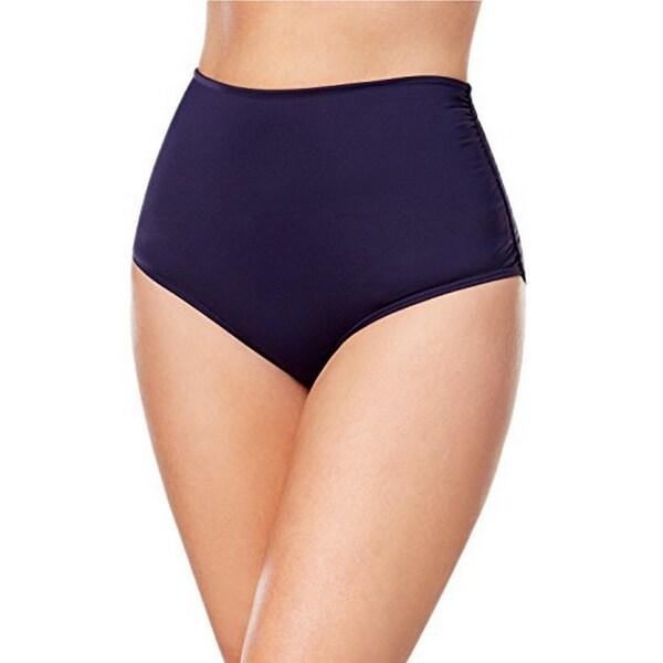 Anne Cole Plus Women's High-Waist Bikini Bottoms,Navy,16W. Opens flyout.