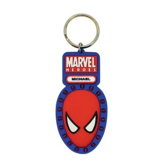 "Marvel Soft Touch PVC Key Ring: ""Spider-Man (Head) with Marvel Logo"" - Multi"