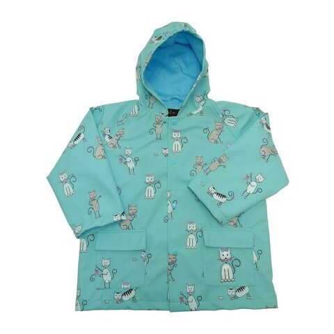 Little Boys Angel Blue Kittens Rain Coat 2T-6 - 4t