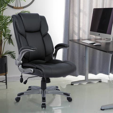 COLAMY Filp-up Arms Executive Office Chair w/Lumbar Support