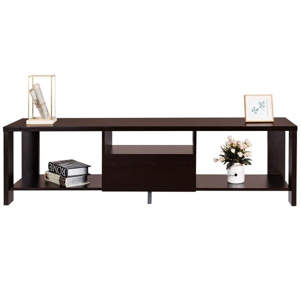 Gymax Media Console Cabinet Entertainment Center TV Stand With Drawer And  Display Shelf   ESPRESSO
