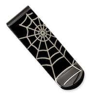 Stainless Steel Black IP Spider Web Money Clip