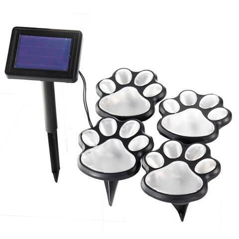 4pc Solar Powered LED Dog Paw Print Garden Walkway Lights - Solar Animal Pet Paws Lighting Outdoor Patio Decor
