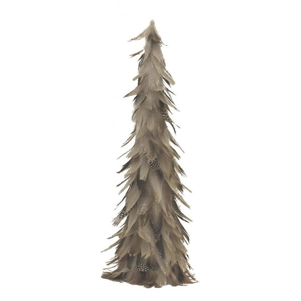 """19"""" Light Brown and Gray Glittered Feather Cone Tree Christmas Decoration"""
