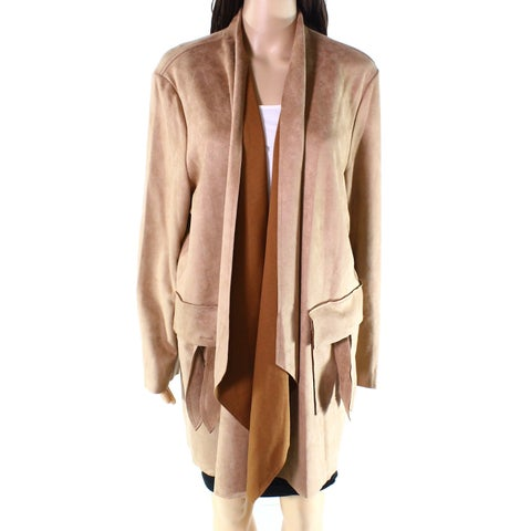 Radzoli Brown Womens Size 2X Plus Solid Faux-Suede Draped Jacket