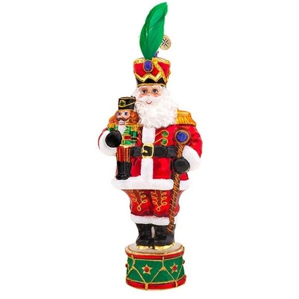 Christopher Radko Glass Drum Major Santa Nutcracker Christmas Ornament #1017558