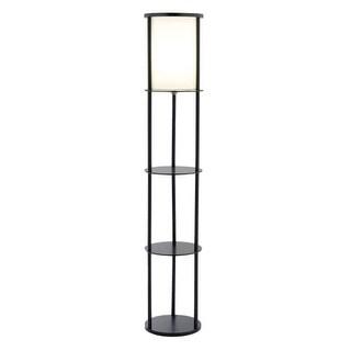 "Adesso 3117 Stewart 1 Light 72"" Tall Column Floor Lamp with Fabric Shade"