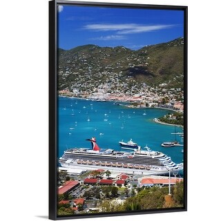 """""""Overlooking Havensight Cruise Ship Terminal and St Thomas Harbor"""" Black Float Frame Canvas Art"""
