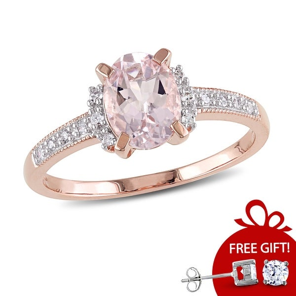 Oval-Cut Morganite and Diamond Ring in Rose Plated Sterling Silver by Miadora. Opens flyout.