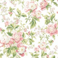 York Wallcoverings WA7804 Waverly Classics Forever Yours Wallpaper - cream/dusty rose/pale pink/raspberry