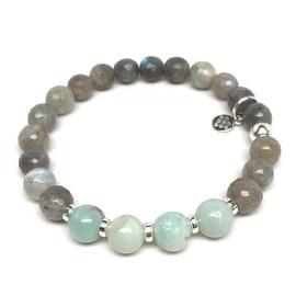 Grey Labradorite 'Andy' Stretch Bracelet, Sterling Silver