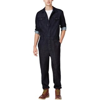 Guess Mens Denim Jumpsuit Button Front Overall Dark Rinse Blue XXL 2XL Coveralls