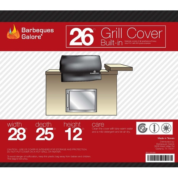 """Shop Barbeques Galore 26"""" Grill Cover for Built-In Gas ..."""