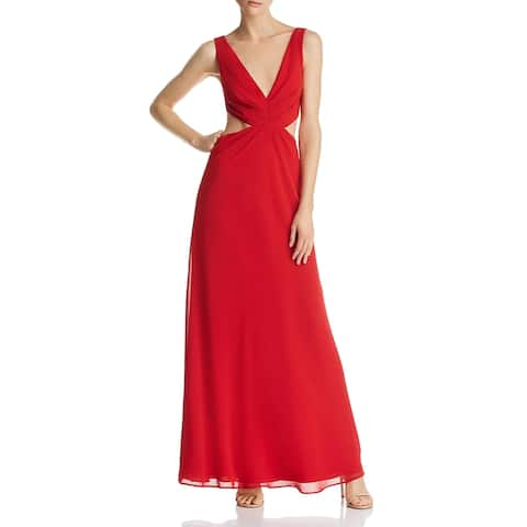Fame And Partners Womens Lennox Evening Dress Chiffon Sleeveless - Cherry Red