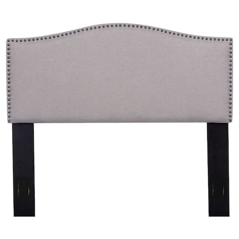 Full/Queen Nailhead Upholstered Fabric Headboard