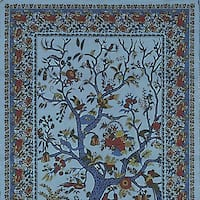 Handmade Cotton Tree of Life Tapestry Throw Tablecloth Spread Twin Full Blue 70x104
