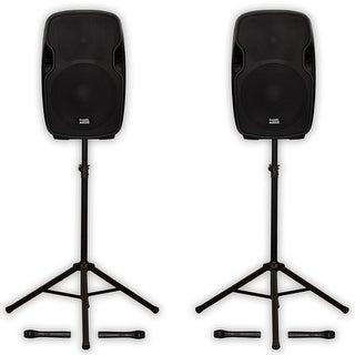 """Acoustic Audio AA154UB Active 15"""" Bluetooth Battery Speakers Stands AA154UB-PK2"""