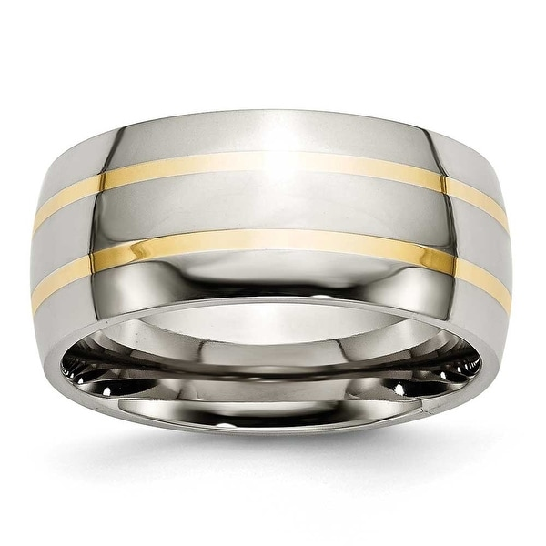 Chisel 14k Gold Inlaid Polished Titanium Ring (10.0 mm)