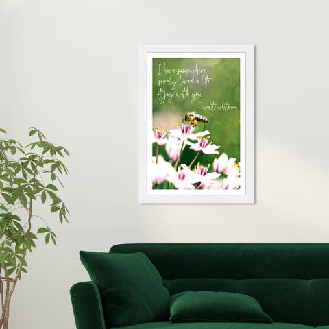 Wynwood Studio 'A Life of Joy' Typography and Quotes Green Wall Art Framed Print