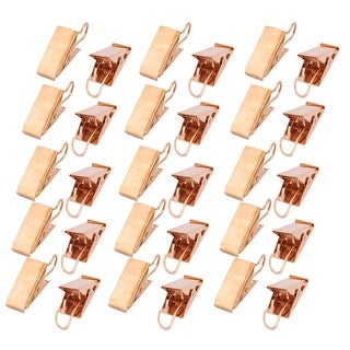 Restaurant Metal Spring Loaded Sawtooth Curtain Hook Clip Clamp Gold Tone 30 Pcs - Gold Tone