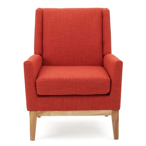 """36.50"""" Muted Orange and Brown Contemporary Accent Chair with Cushion"""