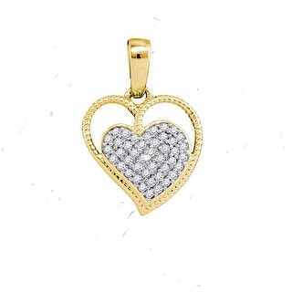 Heart Pendant 10K Yellow-gold With Diamonds 0.1 Ctw By MidwestJewellery - N/A