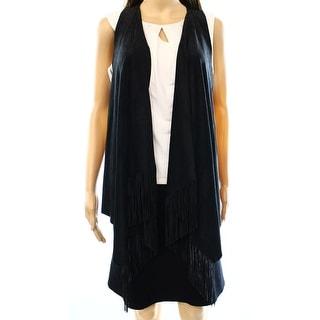 INC NEW Black Women's Size Large L Faux Suede Fringe Trim Vest Sweater