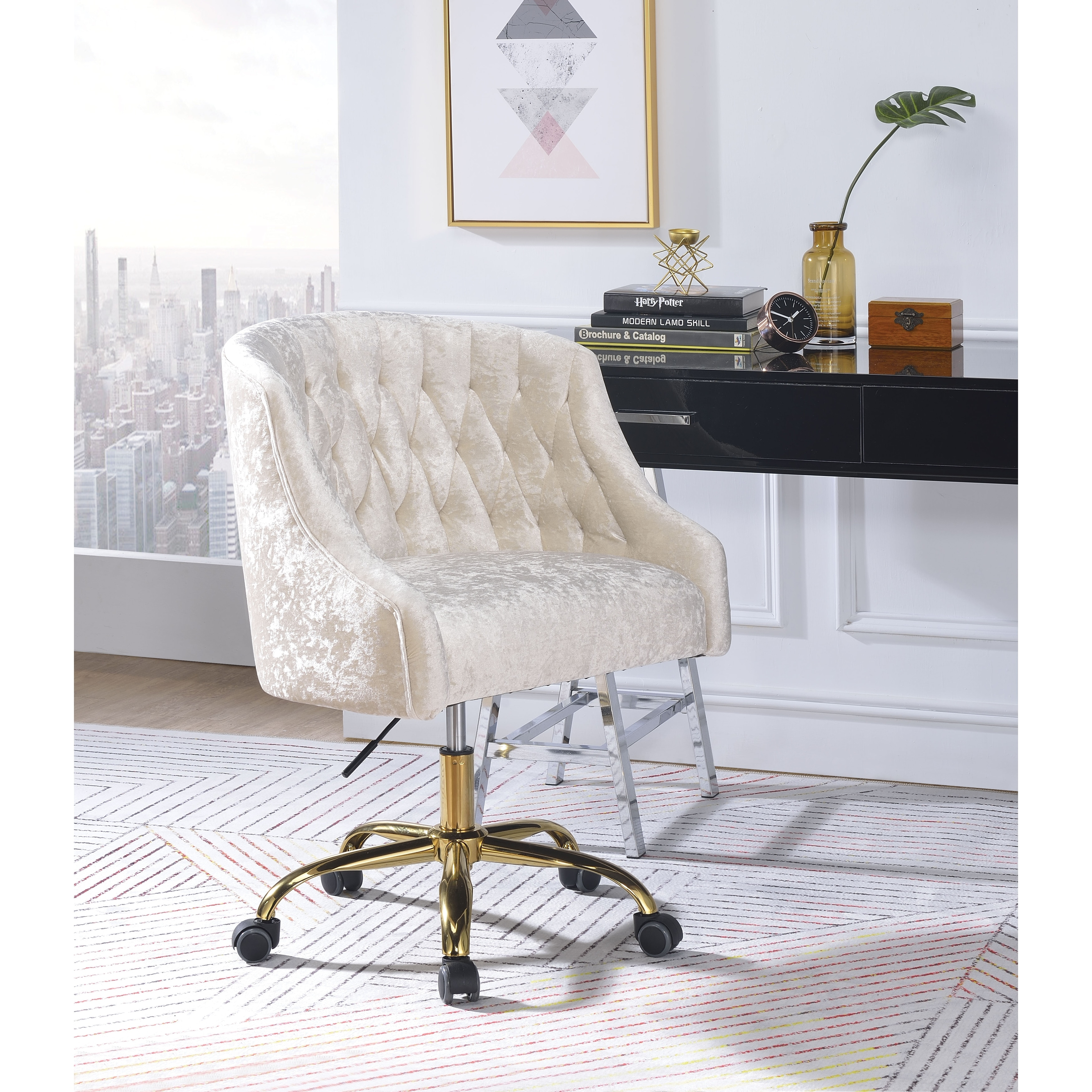 Swivel Velvet Upholstered Office Chair With Adjustable Height And Metal Base Cream And Gold Overstock 28267854