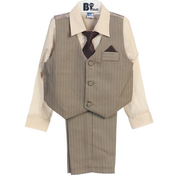 B-One Four Piece Solid Khaki Shirt Striped Khaki Boys Vest Set 9M-4T