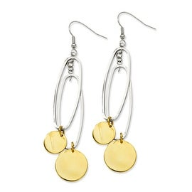 Stainless Steel IP Gold Plated Circles & Polished Oval Dangle Earrings