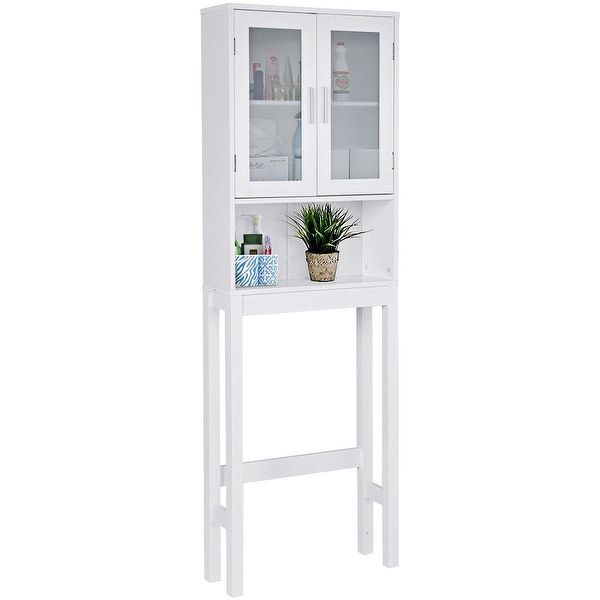 Costway Wooden Over The Toilet Storage Cabinet Spacesaver Organizer  Bathroom Tower Rack   White