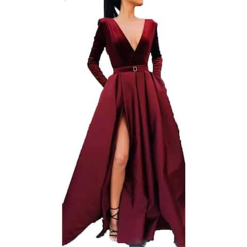 Women's Long V Long Sleeve Gown Slit Long Skirt
