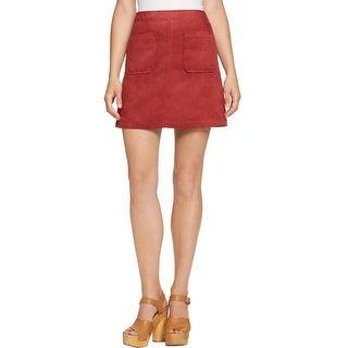 Sanctuary Womens A-Line Skirt Mini Faux Suede
