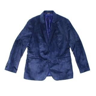 Tasso Elba NEW Blue Men Size XL Two Button Microsuede Blazer Sportcoat