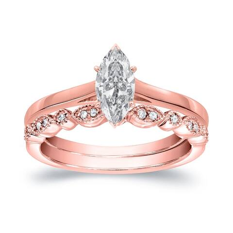 Auriya 14k Gold 1/2ctw Vintage Marquise-cut Solitaire Diamond Engagement Ring Set