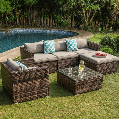 COSIEST Outdoor 6-piece Wicker Sectional Sofa with Cushions