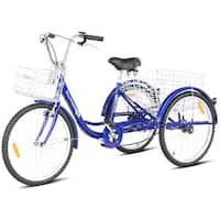 Goplus 24'' Single Speed 3-wheel Bicycle Adult Tricycle Seat Height Adjustable w/ Bell - Blue
