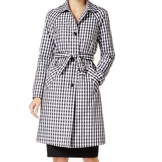 Anne Klein NEW Black Women's Size 16 Gingham-Print Trench Coat