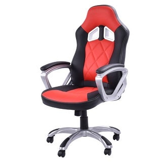 Costway High Back Racing Style Bucket Seat Gaming Chair Swivel Office Desk Task Red - red + black