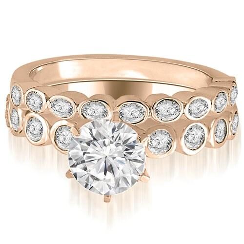 0.94 cttw. 14K Rose Gold Bezel Set Round Cut Diamond Bridal Set