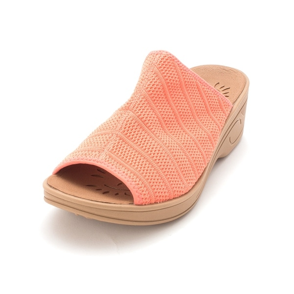 c2316eaa3 Easy Street Womens 30-8325 Fabric Peep Toe Casual Slide Sandals - coral  stretch -